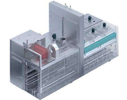 Cellule semi-continue sur deux rangées et deux ventilateurs en zone de cuisson
