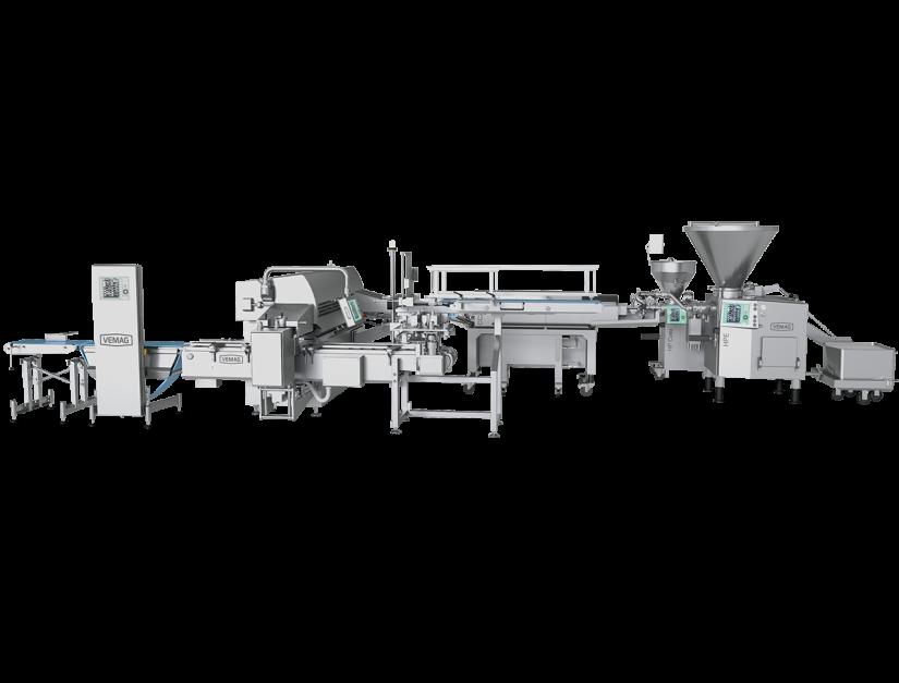 Ligne industrielle de production et mise en barquette automatique de saucisses