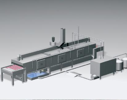 Principe du tunnel de cuisson humide